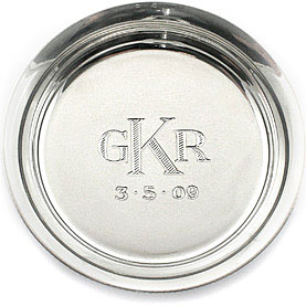 hand engraved monogram silver tray