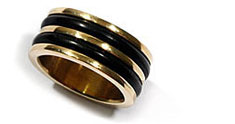 gold and rubber wedding band