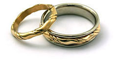 gold inlaid wedding bands