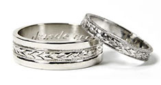 hand engraved leaf pattern wedding bands