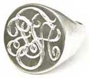 hand engraved monogram ring